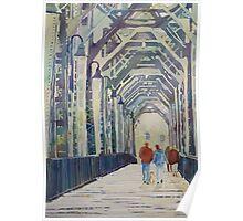 Foggy Morning on the Old Railway Bridge Poster