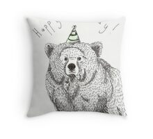 Birthday Bear Throw Pillow