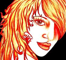 The girl with flaming hair by Jolette