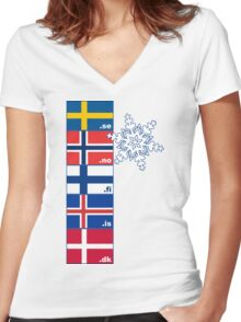 Nordic Cross Flags Women's Fitted V-Neck T-Shirt