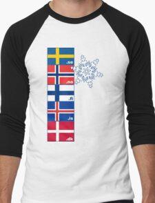 Nordic Cross Flags Men's Baseball ¾ T-Shirt