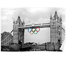 Olympic rings on Tower Bridge (selective colour) Poster