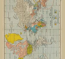 Vintage World Map 1910 by pixelman