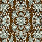Brown And Blue Vintage Floral Baroque Design by artonwear