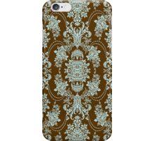 Brown And Blue Vintage Floral Baroque Design iPhone Case/Skin