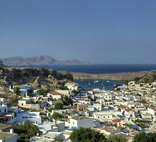 Lindos Village and Bay by Tom Gomez