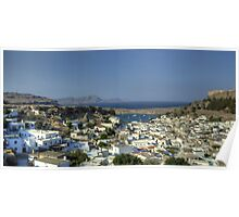 Lindos Village and Bay Poster