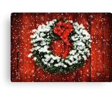 Snowy Christmas Wreath Canvas Print
