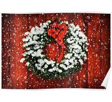 Snowy Christmas Wreath Poster