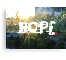 urban hope with wasteground wild poppies Canvas Print