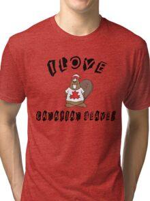 "Funny Canadian ""I Love Canadian Beaver"" T-Shirt Tri-blend T-Shirt"