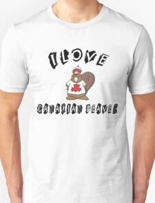 "Funny Canadian ""I Love Canadian Beaver"" T-Shirt T-Shirt"
