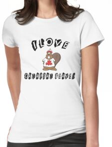 """Funny Canadian """"I Love Canadian Beaver"""" T-Shirt Womens Fitted T-Shirt"""