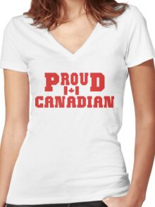 Proud Canadian T-Shirt Women's Fitted V-Neck T-Shirt