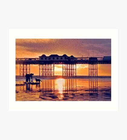 Starlings above Brighton Pier at Sunset Art Print
