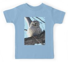 Adorable Barred Owl With Prey Kids Tee