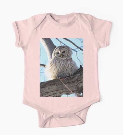 Adorable Barred Owl With Prey One Piece - Short Sleeve