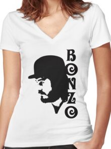 SOLID BLACK BONZO Women's Fitted V-Neck T-Shirt