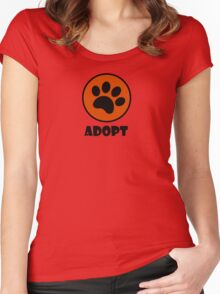 Adopt (Paw Print) Women's Fitted Scoop T-Shirt