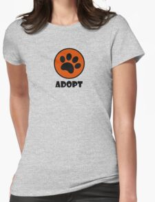 Adopt (Paw Print) Womens Fitted T-Shirt