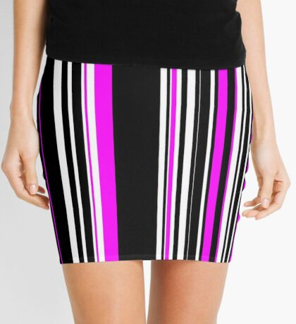 Vertical Bar Stripes Black and Pink Mini Skirt