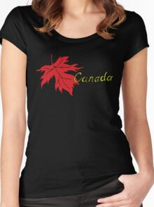 Canada Maple Leaf T-Shirt Women's Fitted Scoop T-Shirt
