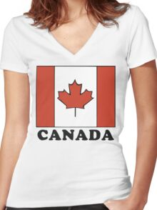 Canada Flag T-Shirt Canadian Flag T-Shirt Women's Fitted V-Neck T-Shirt