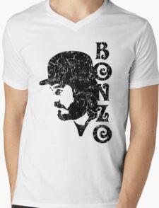 DISTRESSED BLACK BONZO Mens V-Neck T-Shirt