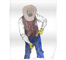 Cowboy Branding a Calf Poster