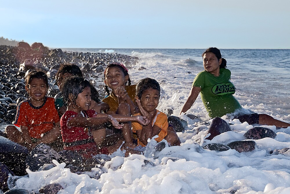 A Bath in the Ocean - Balinese Children by Henry Jager