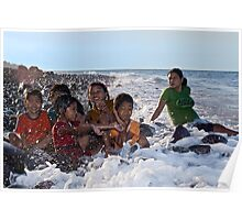 A Bath in the Ocean - Balinese Children Poster