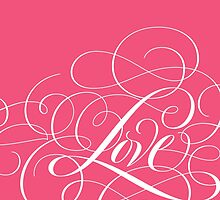 Ornately Flourished 'Love' Calligraphy Script Hand Lettering for Valentine Pink by 26-Characters