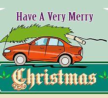 Merry Christmas Tree Car Automobile by patrimonio