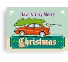 Merry Christmas Tree Car Automobile Canvas Print