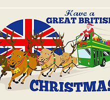 Great British Christmas Santa Reindeer Doube Decker Bus by patrimonio
