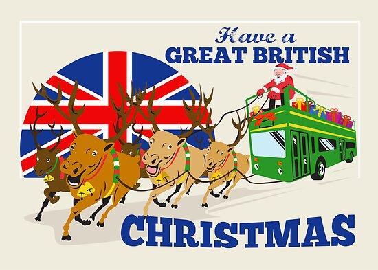 Great British Christmas Santa Reindeer Doube Decker Bus by patrimonio