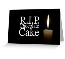 candle and rip chocolate cake Greeting Card