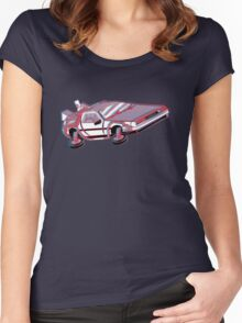 3-Delorean Women's Fitted Scoop T-Shirt