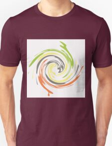 Abstract Art Feathered Green Yellow Orange T-Shirt