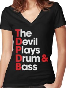 The Devil Plays Drum & Bass Women's Fitted V-Neck T-Shirt