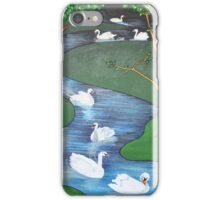 A Flock of Seven Swans-A-Swimming ..... iPhone Case/Skin