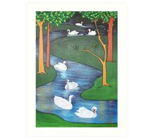 A Flock of Seven Swans-A-Swimming ..... Art Print