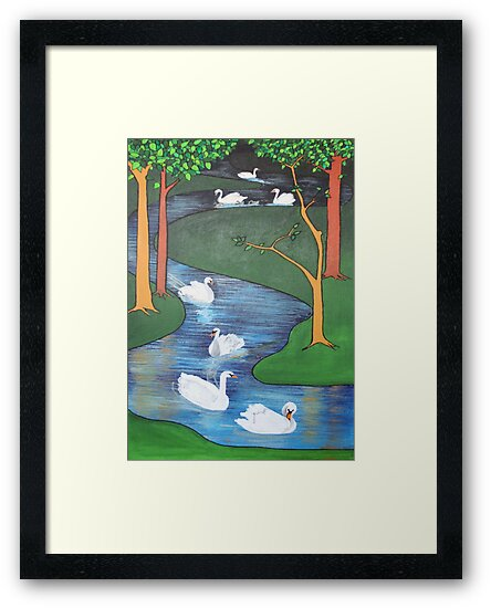 A Flock of Seven Swans-A-Swimming ..... by taiche