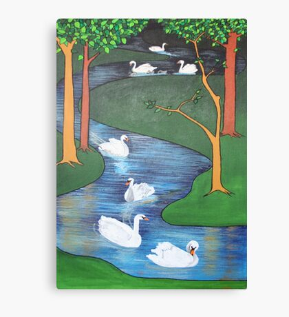 A Flock of Seven Swans-A-Swimming ..... Canvas Print