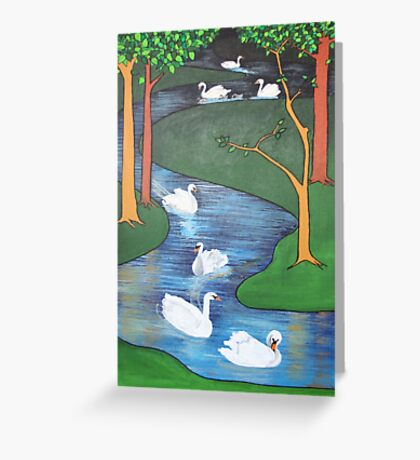 A Flock of Seven Swans-A-Swimming ..... Greeting Card
