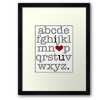 I Heart U. Alphabet Framed Print
