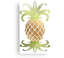Faux Gold Pineapples Pattern Canvas Print