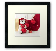 White Teddy Bear  with red Christmas Baubles  Framed Print