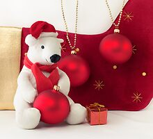 White Teddy Bear  with red Christmas Baubles  by Sviatlana Kandybovich