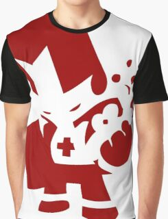 Block line Red Knight of Castle Crasher  Graphic T-Shirt